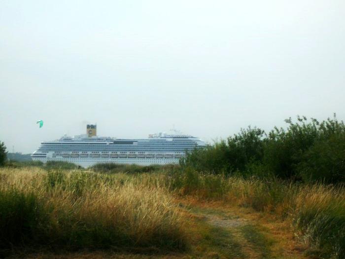 Schiffe gucken - geht nur am Hafen und am Meer (c) Plagge